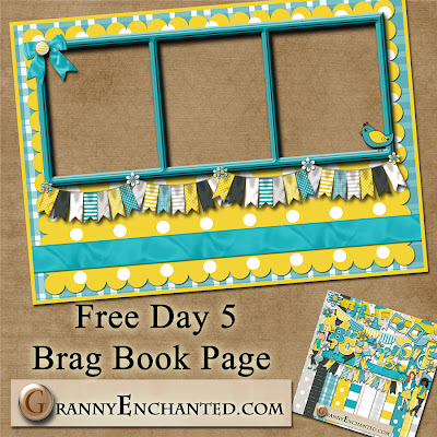 Sunny Kit 50 Free Digital Scrapbook Brag Book Page 5a