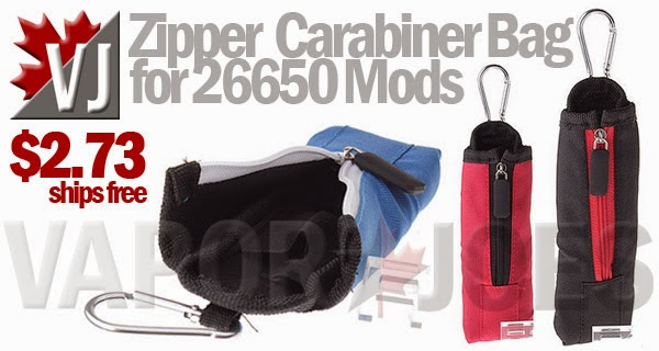 Zippered Carabiner Clip Carry Bag for 26650 Tube Mods