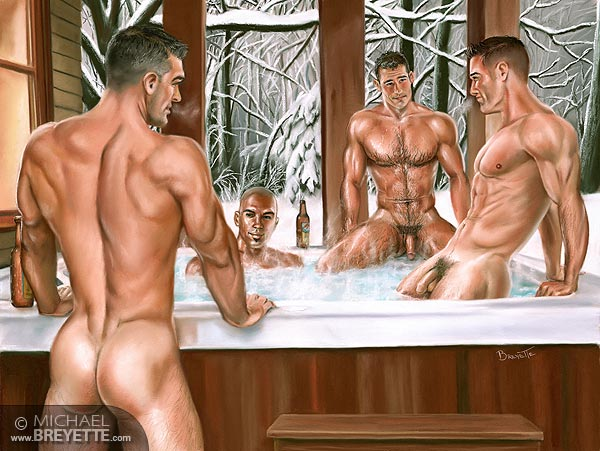 hot guys in a tub with nude gurls