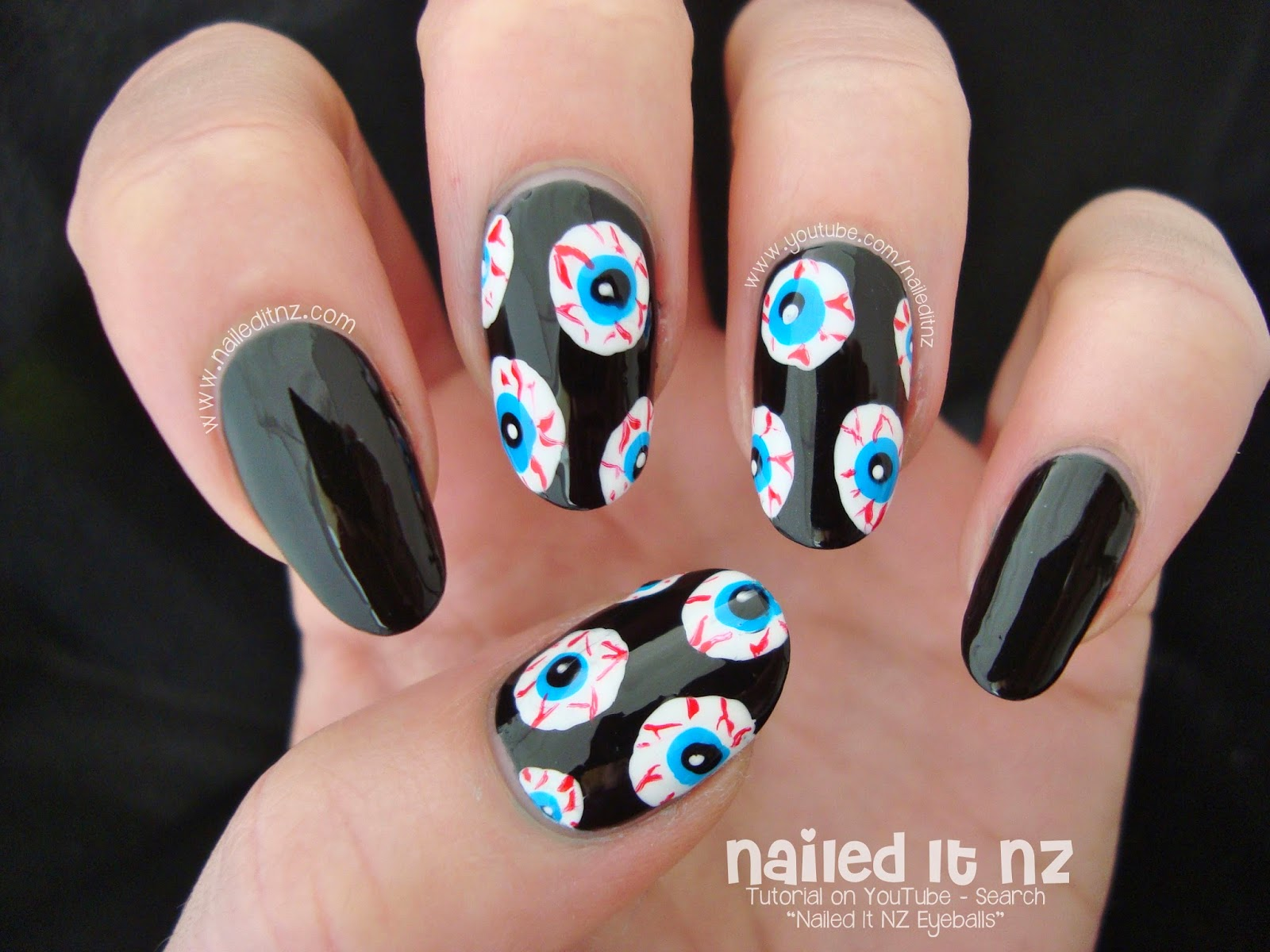 Bloodshot Eyeballs Halloween Nail Art