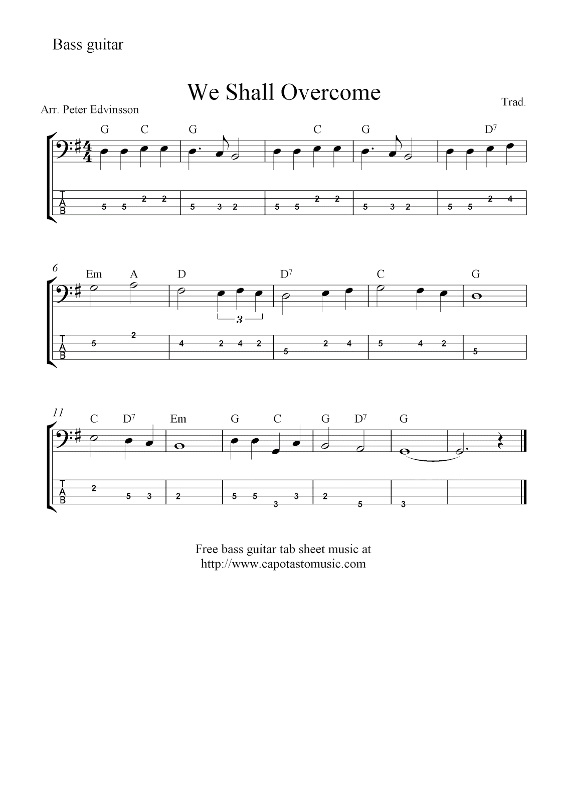 Free bass guitar tab sheet music, We Shall Overcome