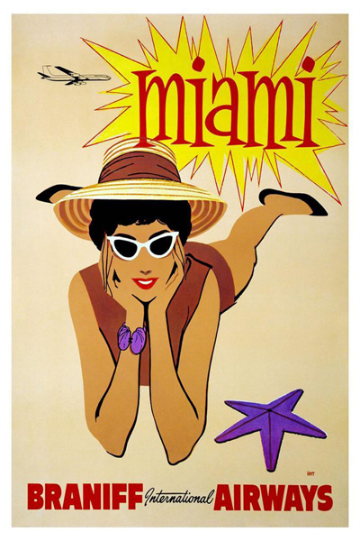 classic posters, free download, graphic design, retro prints, travel, travel posters, vintage, vintage posters, Miami, Braniff International Airways - Vintage Miami Travel Poster