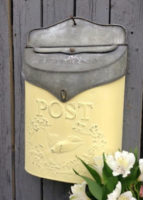 Galvanized Post Box in French Country Yellow