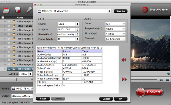 MPEG-TS HD Video Settings