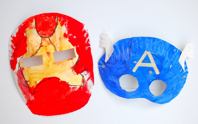 avenger paper plate masks- great super hero craft for kids
