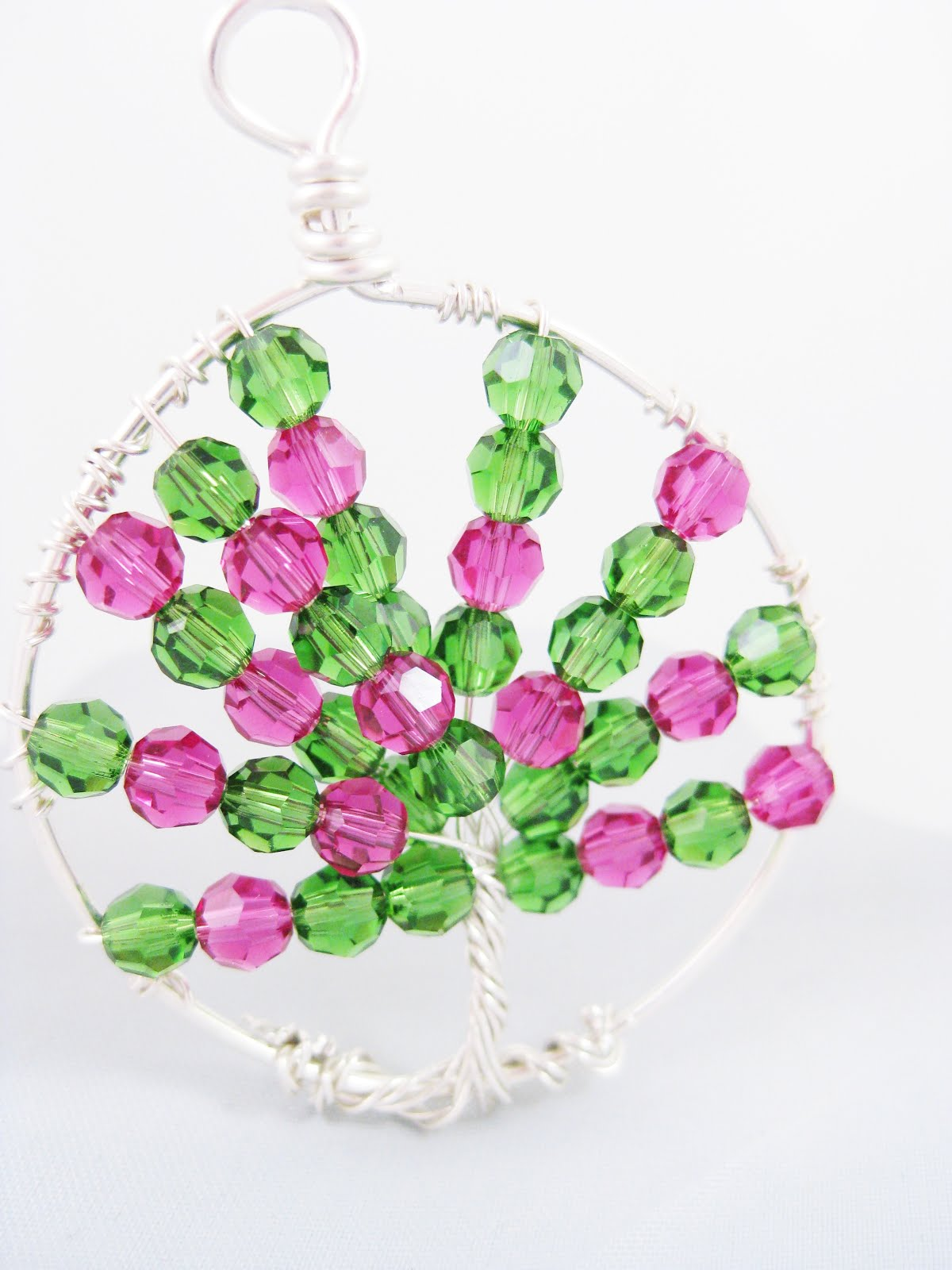 Fuschia/Green Silver Wire Tree of Life Pendant