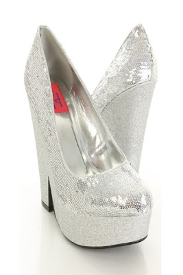Silver Sequins Upper Closed Toe Glitter Platform Heels
