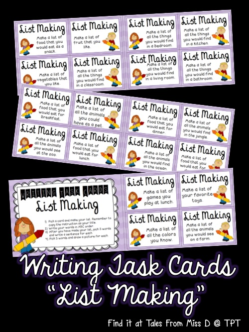 http://www.teacherspayteachers.com/Product/Writing-Task-Cards-1428969