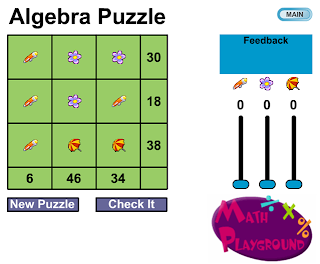 http://www.mathplayground.com/algebra_puzzle.html