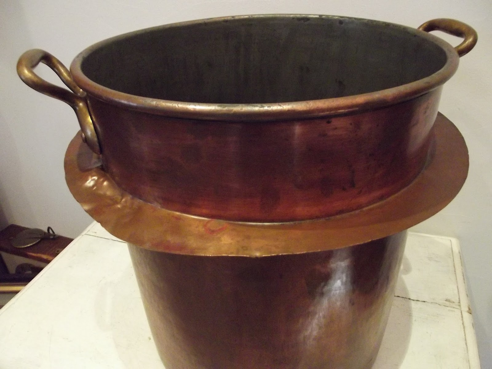 very big antique french copper pan casserole uge saucepan tinned copper pot xxxl ebay. Black Bedroom Furniture Sets. Home Design Ideas