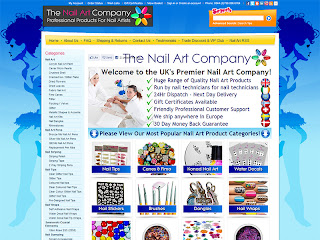 Screen shot of 'The Nail Art Company' new webs shop.