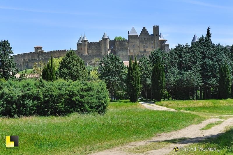 la cité de Carcassonne et le château comtal vu du parc photo pascal blachier