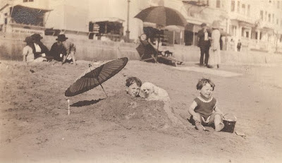 John Jr and Bob at New York beach about 1921 from album of Mary Theresa Sheehan Killeen Walsh