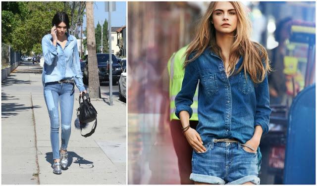 kendall jenner cara delevigne denim on denim fashion inspiration