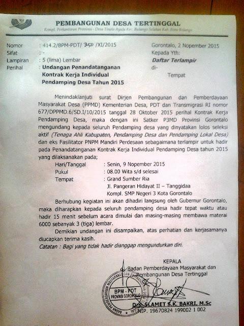 Kontrak enaga Ahli  &  Pendamping Desa Kabupaten Gorontalo