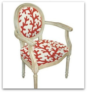 red coral armchair