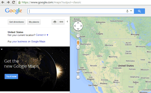 Classic Google Maps URL - Why does google maps uk have terrain and not us