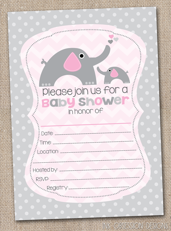 Ink Obsession Designs Fill in the Blank Elephant Baby Shower