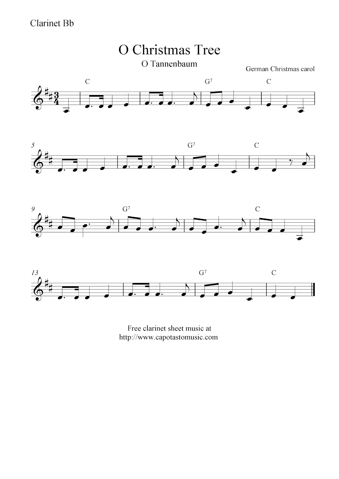 Tree o tannenbaum free christmas clarinet sheet music notes