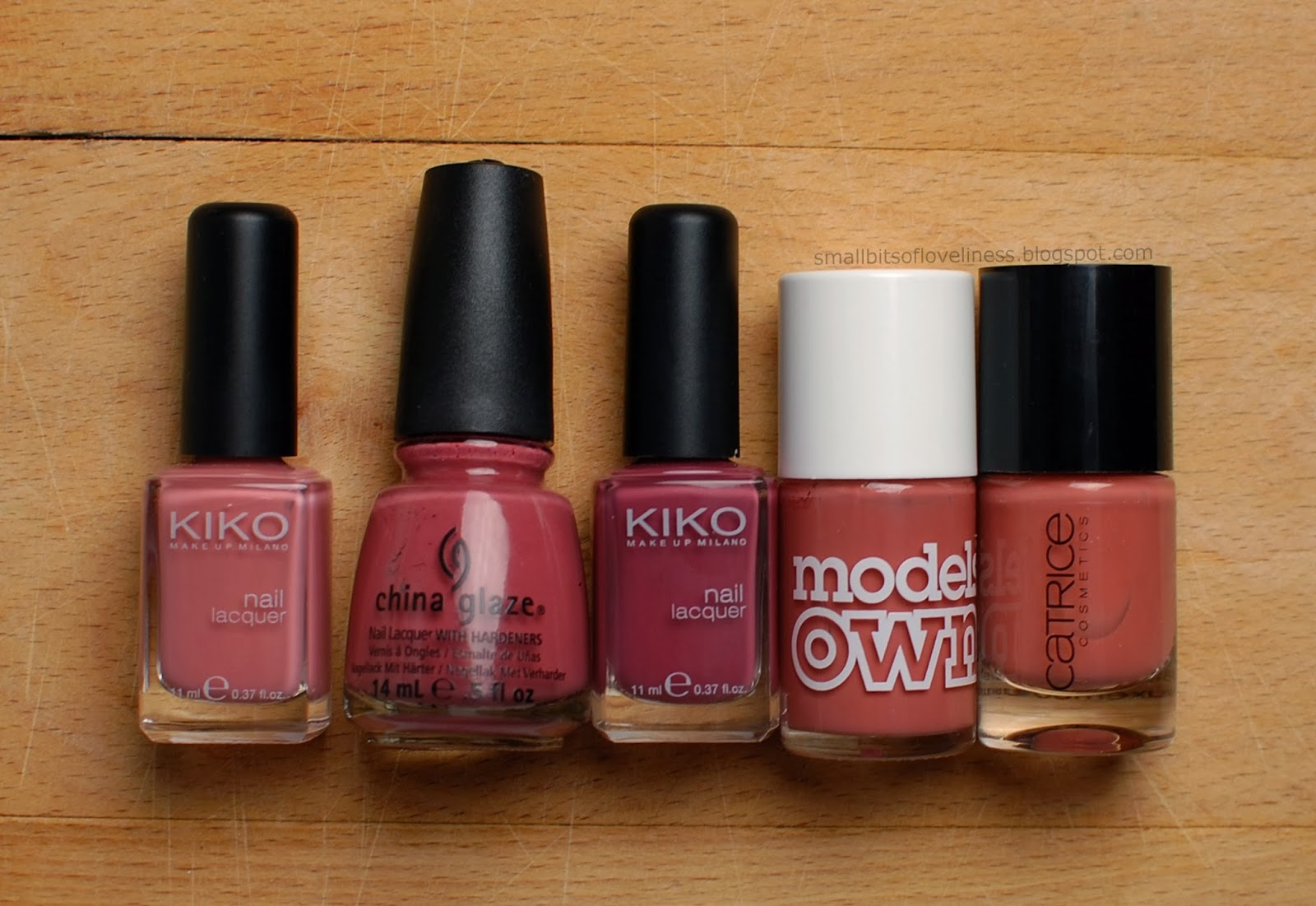 Kiko 375, China Glaze Fifth Avenue, Kiko 317, Models Own Vintage Pink, Catrice Bricky Mouse