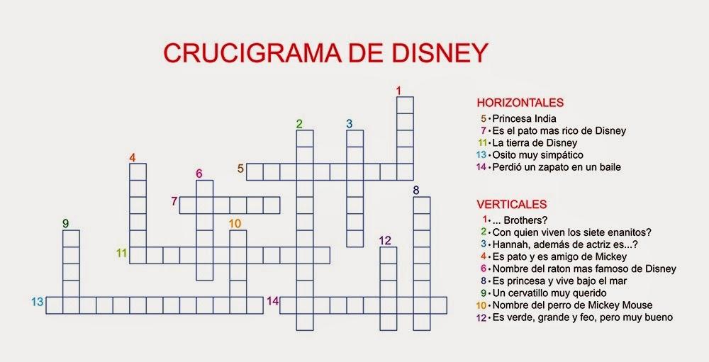 Disney: Crucigrama de Disney