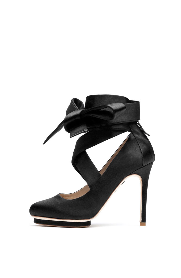 Liam Fahy Charlotte satin bow court shoes