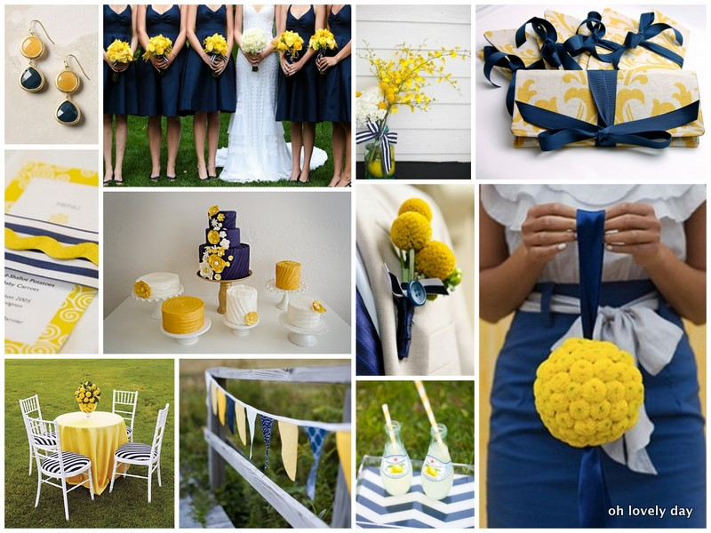 inspiration board preppy patterned navy yellow oh