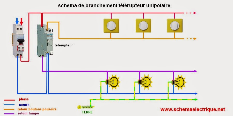 Schema electrique branchement cablage - Branchement d un telerupteur ...