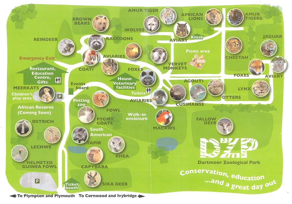 Zoo Map Template Map of Dartmoor Zoo