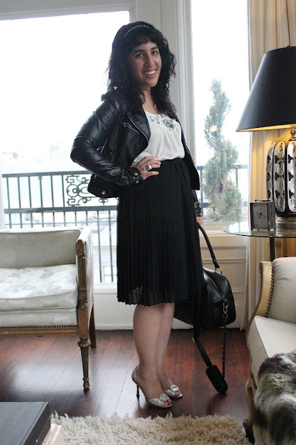 Leather Jacket and Ladylike Skirt