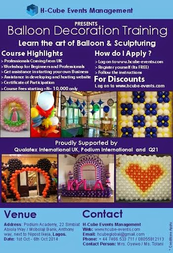 Welcome to linda ikeji 39 s blog balloon decorations training for Balloon decoration course