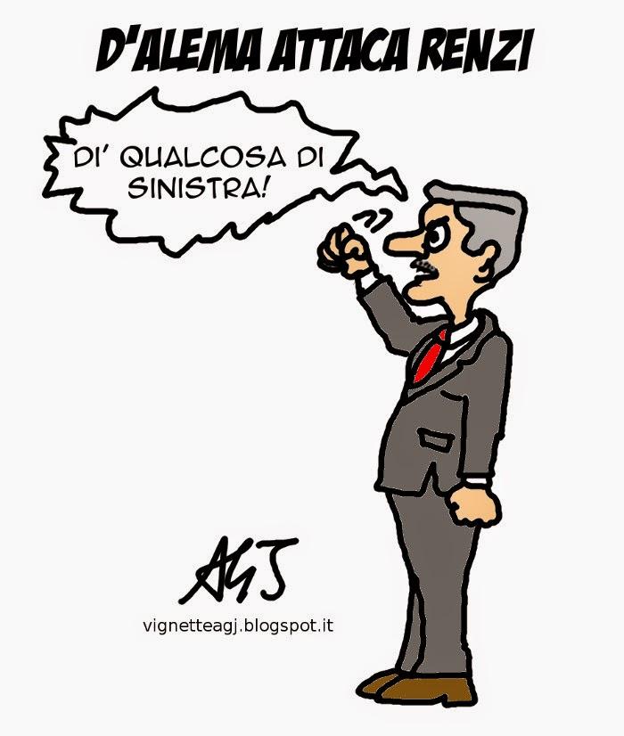 D'Alema, Renzi, minoranza PD, PD, sinistra, vignetta, satira