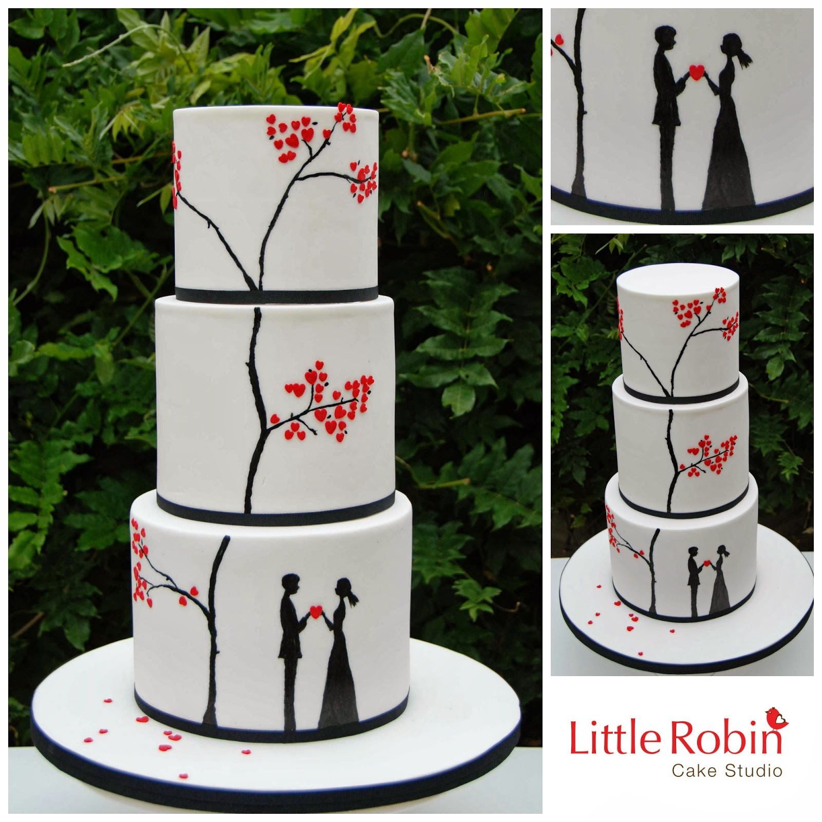 Little Robin 3 Tier Modern Wedding Cake