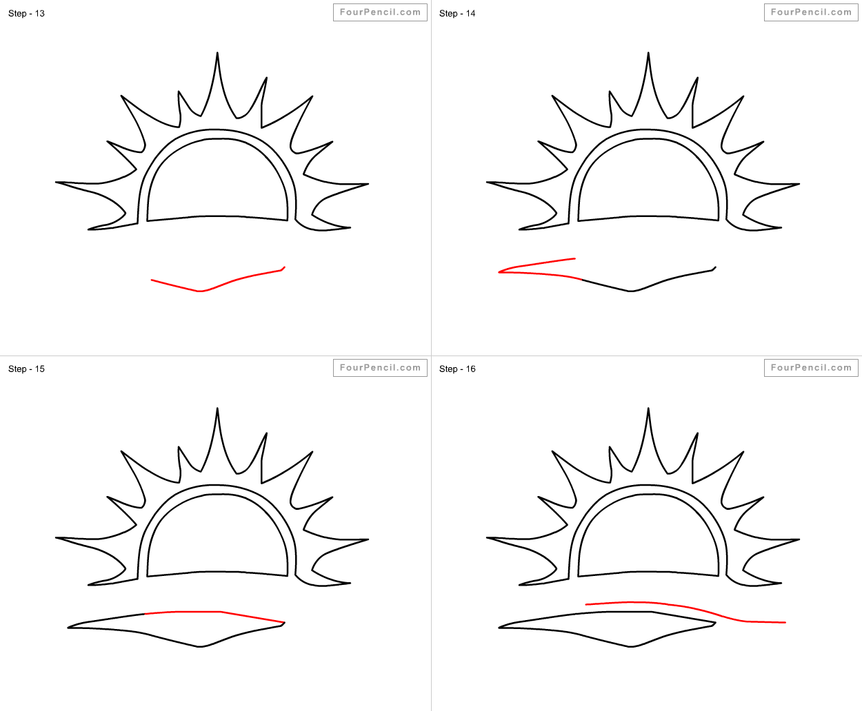 how to draw a sunset step by step easy