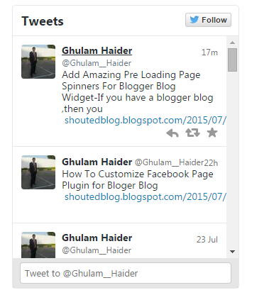 How To Add Twitter  User Widget To Your Blogger Blog