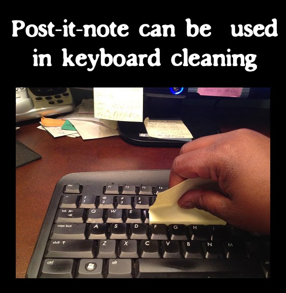 Post-it-note keyboard cleaning