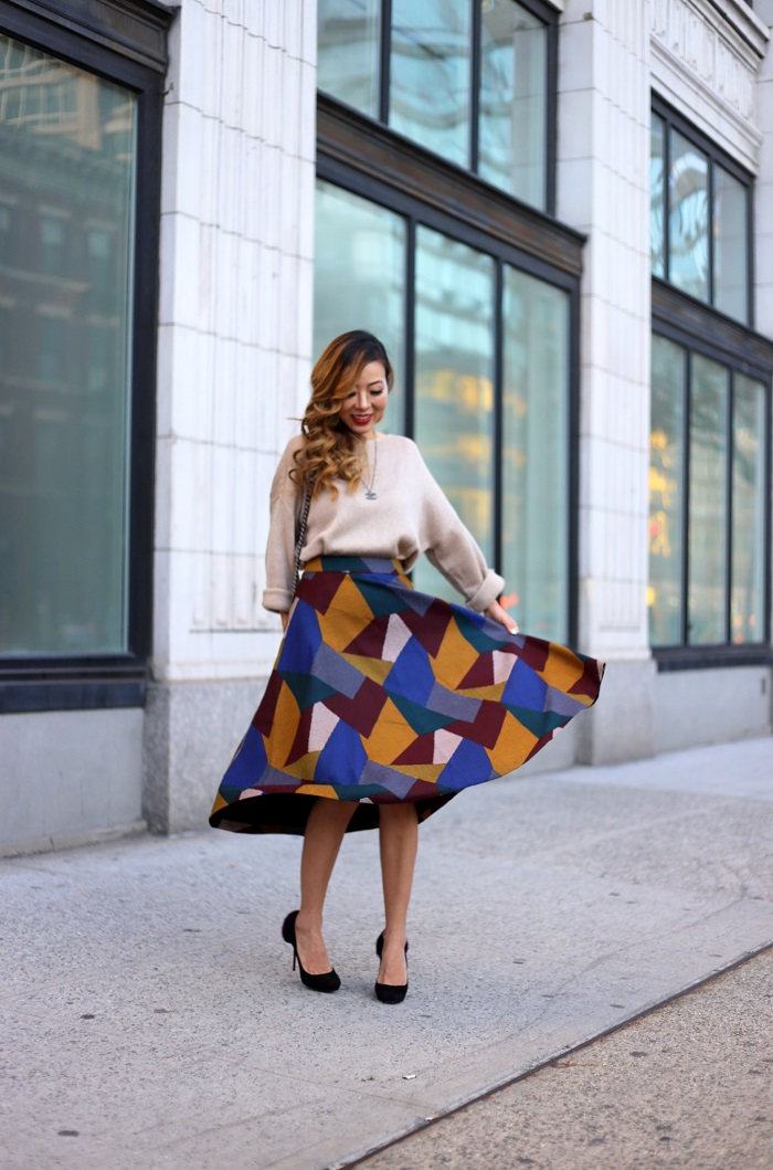 Chiciwsh ribbon bow knot top, chicwish color block mid skirt, chanel necklace, chanel boy bag, christian louboutin heels, fashion blog, holiday outfit, holiday skirt