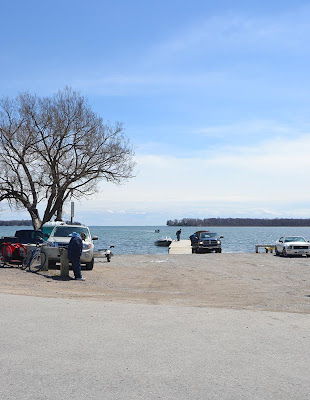 fishermen launching boats at the Collins Drive boat launch in Orillia for the Perch Festival