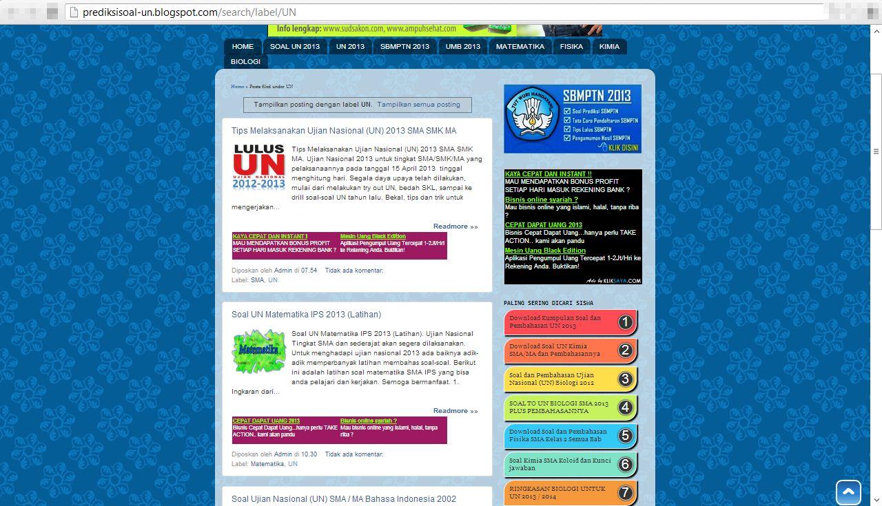 prediksisoal-un.blogspot.com . Disini juga bejibun soal-soalnya