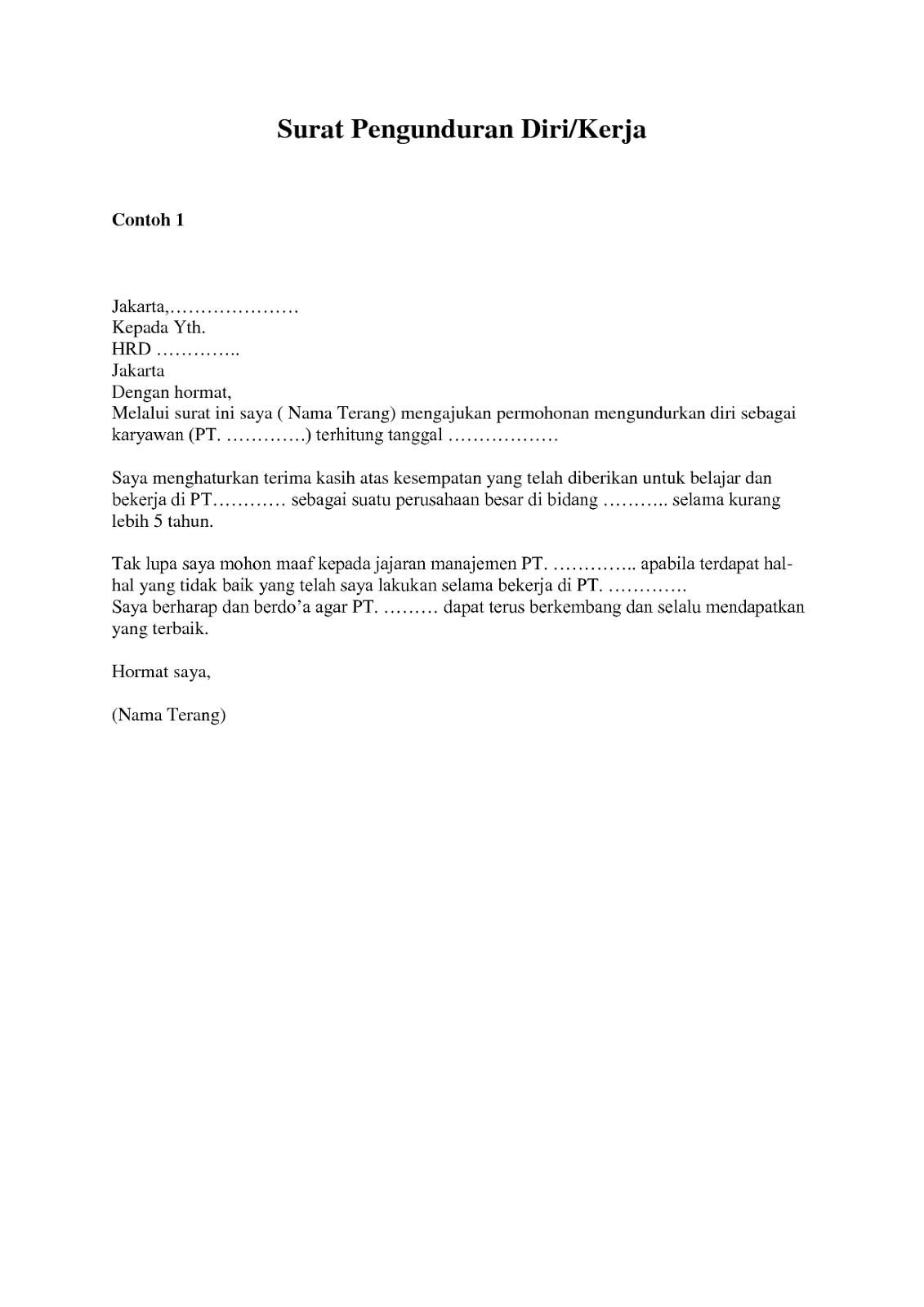 Contoh Surat Pengunduran Diri Kerja Surat Resign