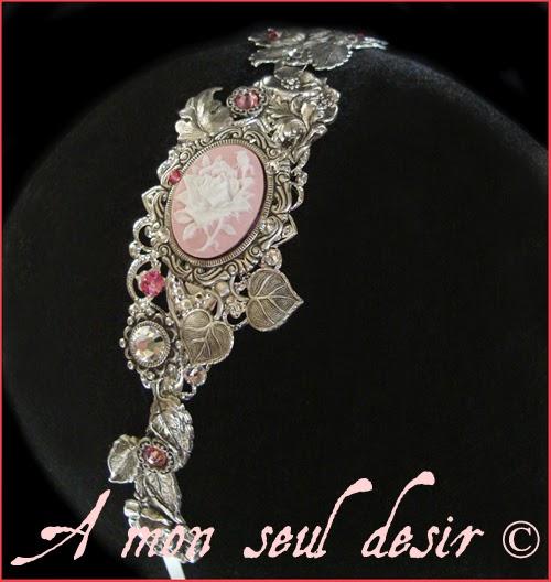 Serre Tête camée fleur floral rose mariage romantique victorien Rosalyn weddinng cameo flower pink cristal headband victorian headdress romantic