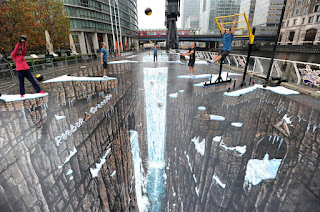 3D straatkunst in Canary Wharf, Londen
