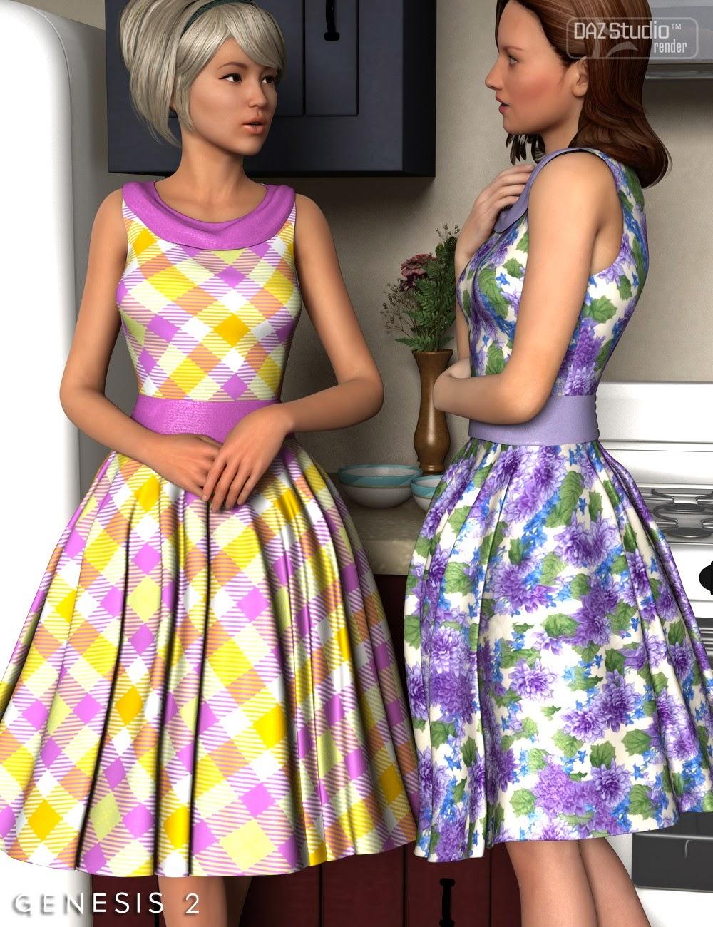 3d Models Art Zone - Take Me Back Dress for Genesis 2 Female(s)
