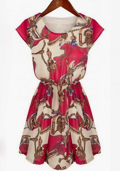 Red Apricot Floral Print Vintage Slim Dress