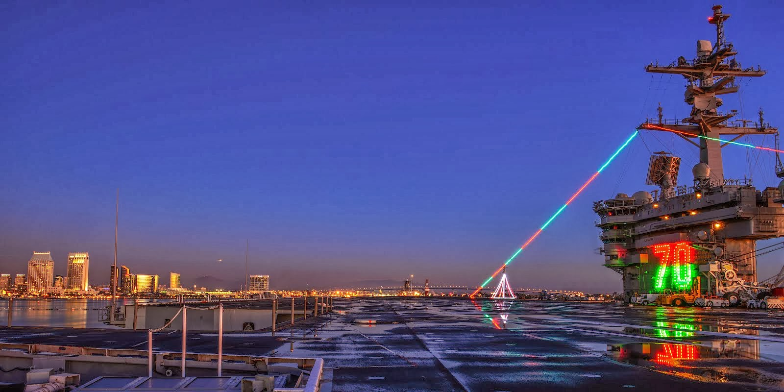 USS CARL VINSON DISPLAYS HOLIDAY LIGHTS