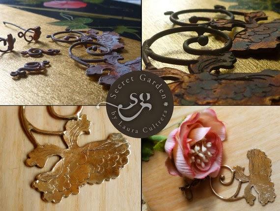 Orecchini peonia in bronzo