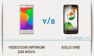 Compare Videocon Infinium Z45 Nova with XOLO One - Specs and Price