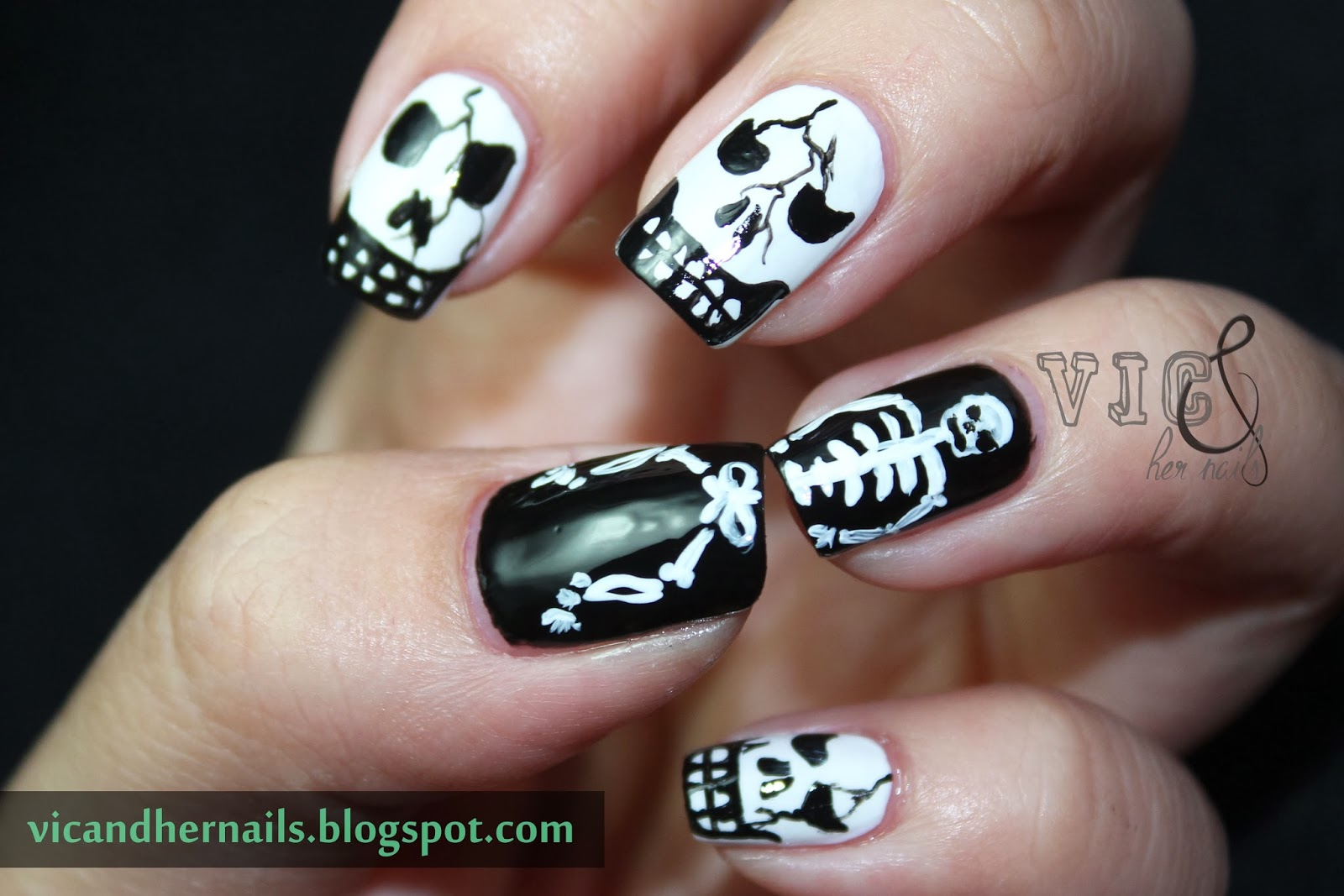Vic and her nails halloween nail art challenge skullskeleton halloween nail art challenge skullskeleton prinsesfo Images
