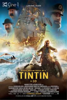poster do filme As Aventuras de Tintim - Steven Spielberg e Peter Jackson