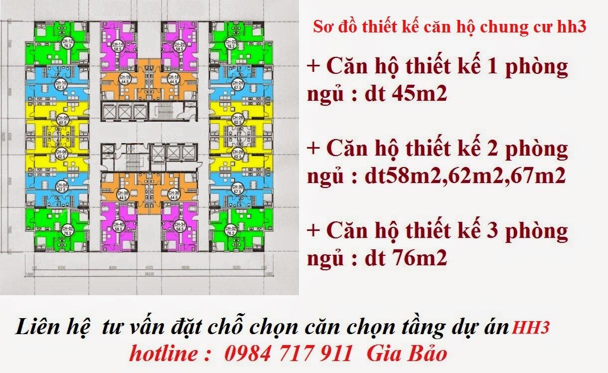thiết kế căn hộ chung cư hh3a,hh3b,hh3c linh đàm